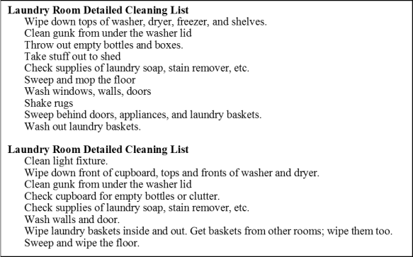 Detailed Cleaning Lists